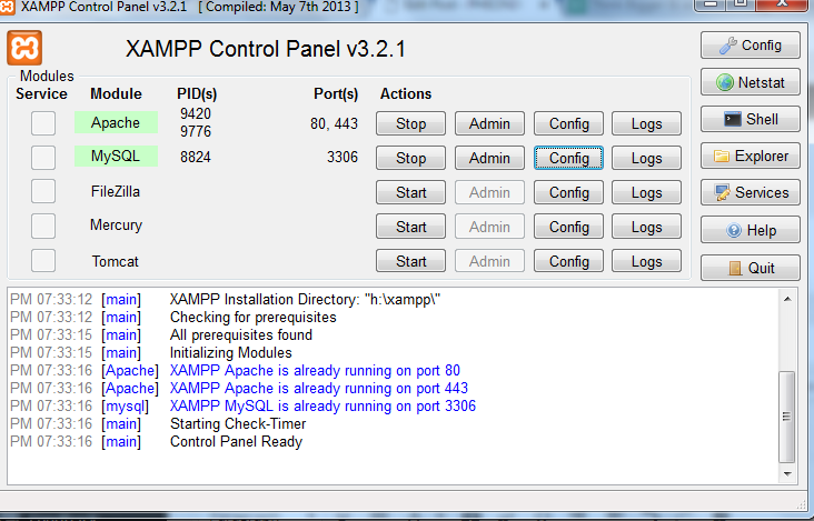 Restore Database on Xampp from command line - PHEONIX SOLUTIONS
