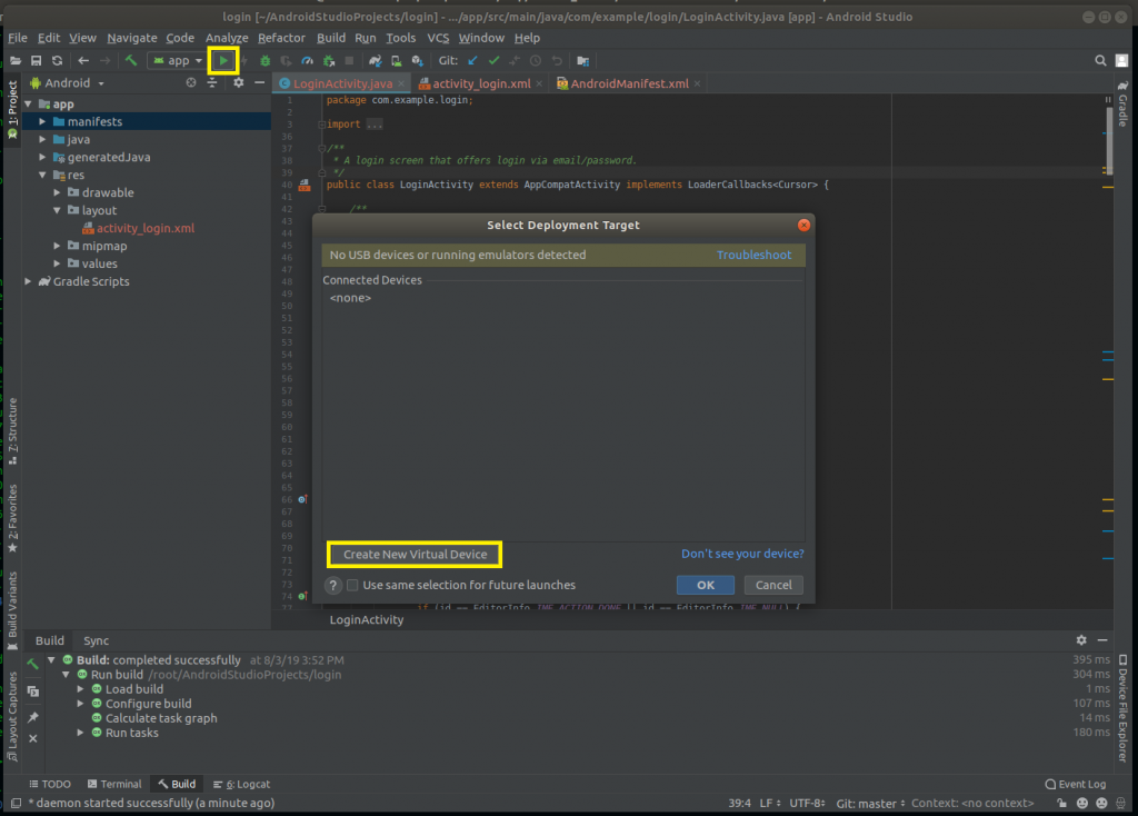How to Run the Android Studio project(app) on Emulator